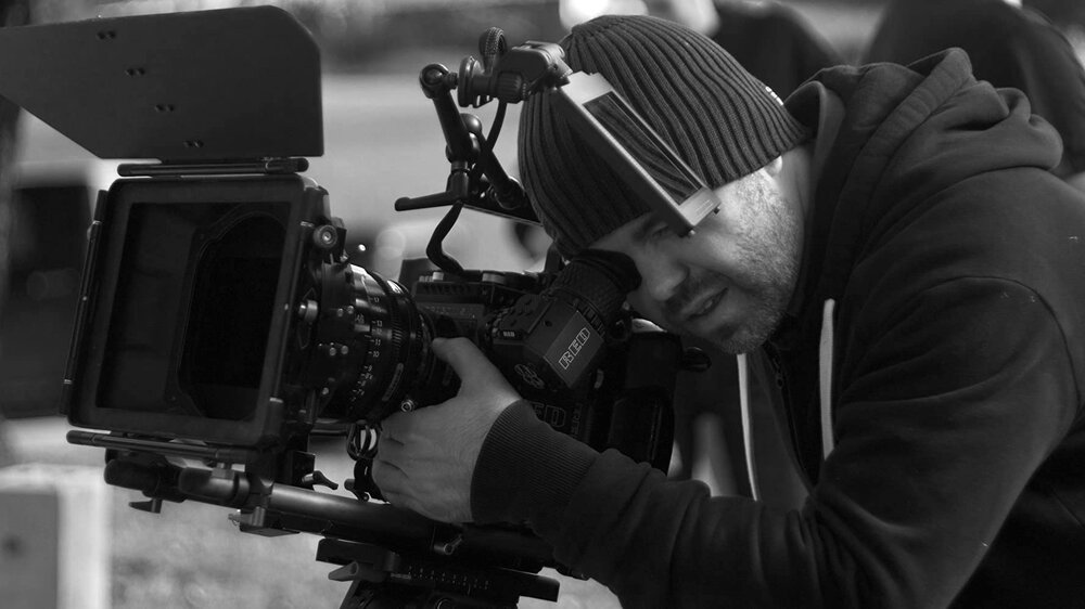 black and white image of photography director Matt Simpkins